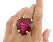 Pink Heart Ring, Large Fuchsia Swarovski Crystal Heart Ring, Hot Magenta Oversize Ring, Love Valentines Gift, Huge Statement Cocktail Ring