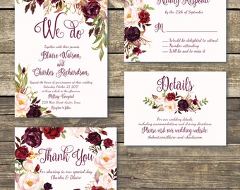 Printed Wedding Invitation - Fall Floral Wedding - Watercolor Floral - Burgundy / Marsala / Wine Rustic Wedding - FREE Hard Copy Proof