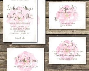 Printable Wedding Invitation - DIY Floral Watercolor Wedding - Romantic Weding  / Summer Wedding / Pink /  Blush Rustic Wedding Invitation