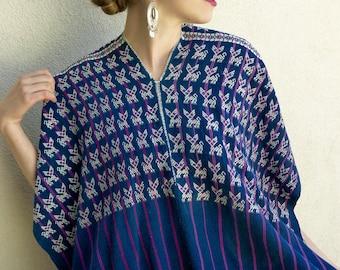 """Guatemalan handwoven huipil poncho indigo lion patterned Nahuala open-sided boho Frida Kahlo 30"""" w x 25"""" L"""