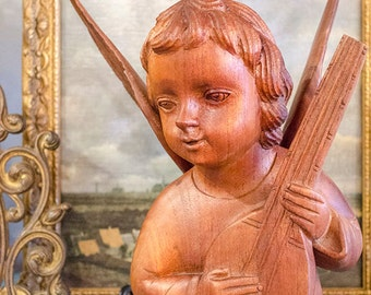 Vintage Carved Teak Wood Cherub, Wings, Beautiful