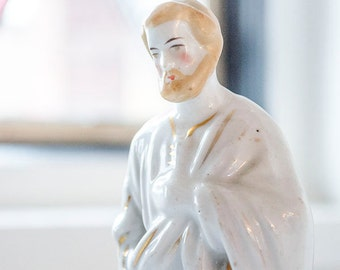 Antique FRENCH St Joseph Statue, Old Paris Porcelain, From France