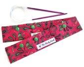 """Large Green, Black and Pink Paisley Knitting Needles DPN Circular Project Holder for needles up to 9-1/2"""" long S212"""