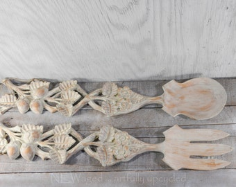 Extra Large fork and spoon, painted fork and spoon, wood, wall hanging, wall decor, distressed, bleached sand color, upcycled