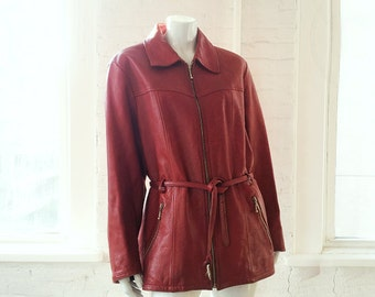 Red Leather Jacket 90s Vintage Car Coat Women's Large XL Moto Jacket Minimalist Biker Jacket Cherry Red Trench Coat Motorcycle Jacket Coat