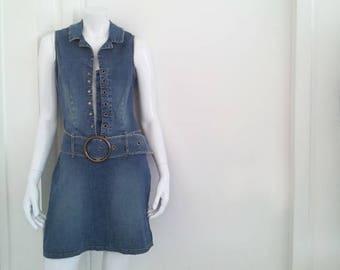 Denim Mini Dress 90s Vintage Lace Up Jeans Dress Boho Wide Belt Large Grunge Festival 70s Sailor Jean Dress Club Kid Clueless Jean Minidress
