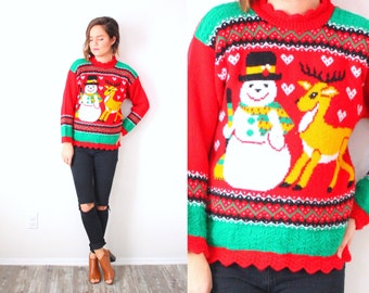 Vintage snowman reindeer ugly christmas sweater // tacky christmas sweater // red snowman print sweater // reindeer small christmas jumper