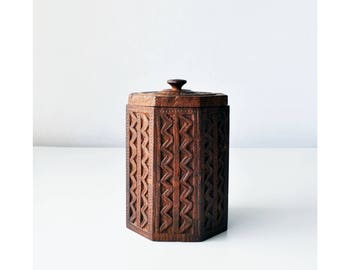 """6.5"""" Carved Wood Canister // Container // Made in India"""