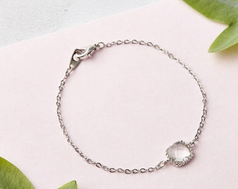 Dainty Silver Bracelet - Crystal Bracelet, Minimalist Bracelet, Minimalist Jewellery, Gifts for her, Thin Silver Bracelet, Delicate Bracelet