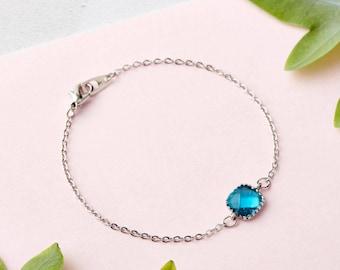 Dainty Silver Bracelet - Blue Bracelet, Thin Bracelet, Minimalist Bracelet, Minimalist Jewellery, Gifts for her, Friendship Bracelet, Blue