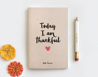 Notebook & Pencil Set - Gratitude Journal, Today I am Thankful, 80 Pages Midori Insert Travelers Journal 3 Sizes