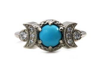 Sleeping Beauty Turquoise and Diamond Crescent Moon Engagement Ring - 14k Palladium White Gold