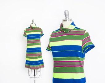 Vintage 1960s Dress - Neon Green Striped Mod Shift Knit Mini Cole of California - Small