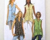 2010s Plus Size Top Tunic Pattern, Butterick B5646, Womens Sleeveless or Cap Sleeve Blouse Overblouse Sewing Pattern, Size L-XL-XXL UNCUT