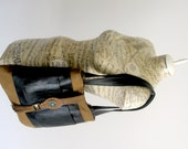 Recycled Leather Boho Hobo Handbag - Black and Brown Upcycled Leather