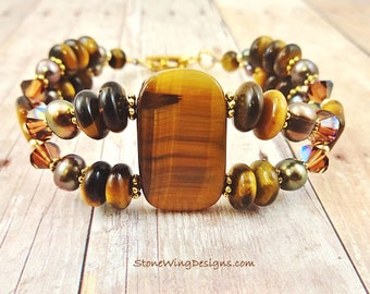Tigers Eye Bracelet, Tigers Eye Jewelry, Gemstone Bracelet, Gemstone and Pearl, Classy Jewelry Gift, gift for wife, mothers day gift