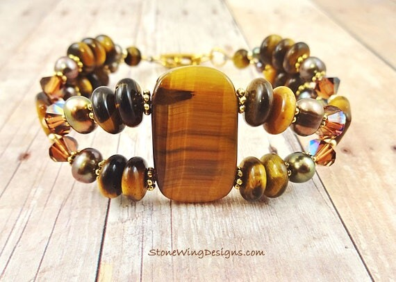 Tigers Eye, Pearl and Crystal Two Strand Bracelet