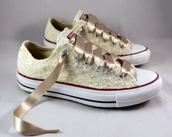 Wedding Converse - Bridal Converses --Ivory Lace Converse -- Wedding Tennis shoes