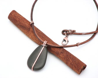 Natural Stone Necklace Beach Stone Jewelry Earthy Copper Wire Wrapped Leather Necklace Organic  Artisan Made