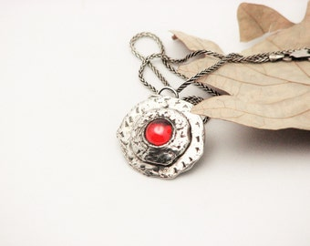 Sterling Silver Pendant Rustic Metal Jewelry Hippie Bo Ho Fire Opal Hammered Necklace  Handcrafted Medallion Recycled Silver Eco Friendly