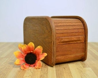 Midcentury Recipe Box Upcycled Diskette Holder Kalmar Designs Inc Teak Wood