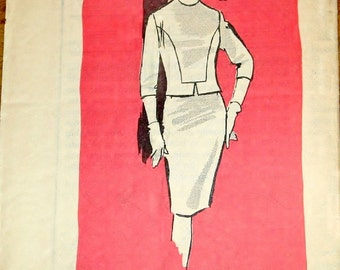 Vintage 1960s Mail Order Sewing Pattern 4761 Two Piece Dress, Panel Overblouse Top Pencil Skirt Women Miss Size Bust 36 Partly Cut Complete