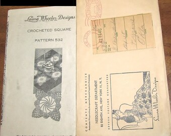 Vintage 1940s Laura Wheeler Mail Order Crochet Pattern Pinwheel Swirl Doily, Thread Lace Square Doilies to Join Mail Order Craft Pattern 532