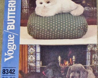 "Vintage 1980s Craft Sewing Pattern Butterick Vogue 8342 529, Stuffed 20.5"" Dog 15"" Cat, Plush Toy, Kitty Puppy Plushies, Uncut Factory Folds"