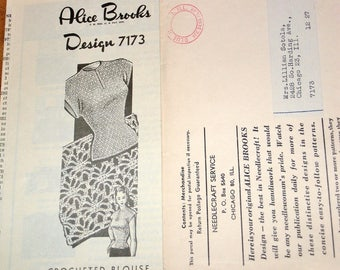 Vintage 1940s Design Mail Order Crochet Pattern Alice Brooks 7173 Crocheted Blouse, Thread Lace Sweater Top, Womens Misses Bust 32 34 36 38