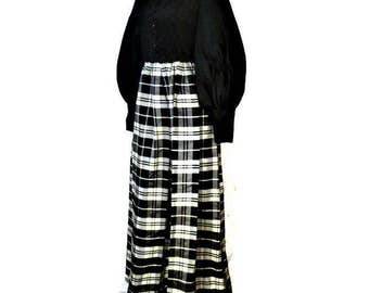 80s Maxi Dress Black White Dress Long Sleeve Dress 1980s Formal Dress Leg of Mutton Sleeves Black White Tartan Made in Canada  Couture Dress