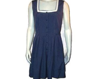 70s Blue Romper Dark Blue Playsuit Navy Blue Jumpsuit Sleeveless Romper 1970s Shorts Jumpsuit Pleated Shorts Spring Romper Summer Playsuit