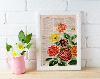 Summer Sale Dahlia bouquet print  Dictionary Page wall art home decor, wall hanging , flower wall art, Dahlia wall decor BFL081