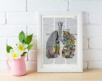 Summer Sale Human anatomy lungs, Minerals and stones Lungs. Anatomy art dictionary page -Love gift -Anatomy art, Wall art  SKA120
