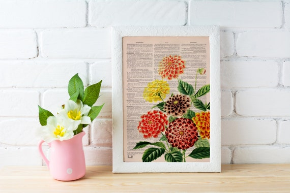 Summer Sale Dahlia bouquet print  Dictionary Page wall art home decor, wall hanging , flower wall art, Dahlia wall decor BFL081