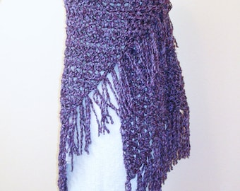 Purple Crochet Shawl - Large Triangle Fringed Crochet Wrap - Gypsy Boho Shawl - Handmade Bulky Crochet Shawl