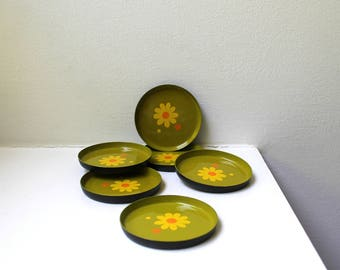 Mid Century Mod Flower Power Lacquer Coasters Set of 6 Avocado Yellow Japan