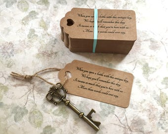 "Skeleton Key BOTTLE OPENERS + ""Poem"" Thank-You Tags – Wedding Favors set of 50 - Ships from United States - Antique Bronze - Sofia"