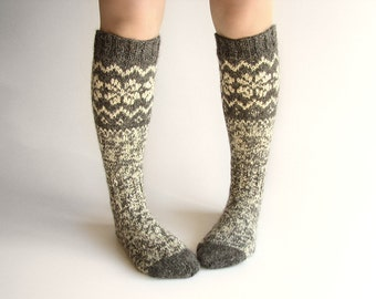 Knee Socks EU size 36-37 - High Hand Knitted Patterned Fair Isle Socks - 100% Natural Organic Undyed Wool - Warm Autumn Winter Clothing