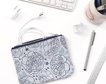 Small Zipper Pouch, Monochrome Floral Pattern, Moody Romantic Peony Print; Original Design, Bee Forget-Me-Not Floral Fabric, Cute Tampon Bag