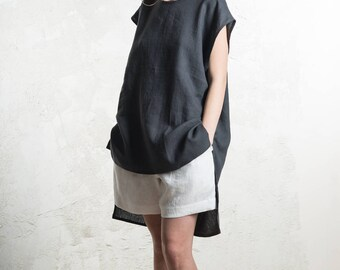 Charcoal linen top for women, Linen tunic, Linen tank top, Dark grey linen women's clothing by LHI