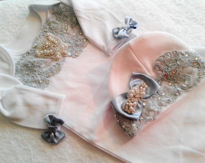 Newborn baby girl coming home outfit beaded Pearl and Rhinestone layette gown and hat