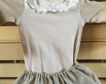 Girls Coffee Dyed Bodysuit with Lace, Linen Skirt Set
