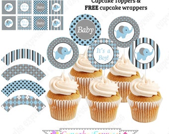 Baby Boy Elephant PRINTABLE Cupcake Topper blue grey charcoal white baby shower INSTANT DOWNLOAD diy - Cupcake Express 1040