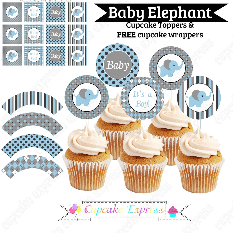 Baby Boy Elephant PRINTABLE Cupcake Topper blue grey charcoal