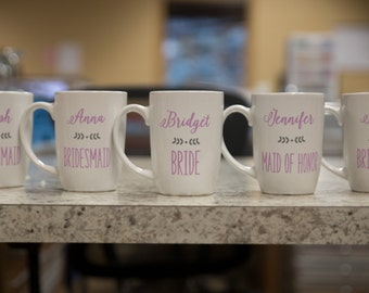 Bridesmaids gifts, Personalized Maid of honor gift idea. Wedding party coffee mugs. Bridesmaids gift idea. Bridal party gift, Coffee mugs