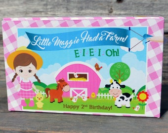 15 Personalized Animal Cracker Boxes for Farm Party, Girls Farm Birthday Party Favors Girls Petting Zoo Party, Farm Animals Party
