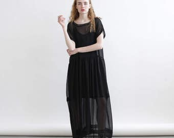 Sheer Maxi dress, Cocktail Dress, Black Maxi Dress.