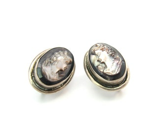 Cameo Earrings. Carved Mother of Pearl. Deep Iridescent Small Ovals. Italian 800 European Silver. Vintage 1930s Art Deco Jewelry