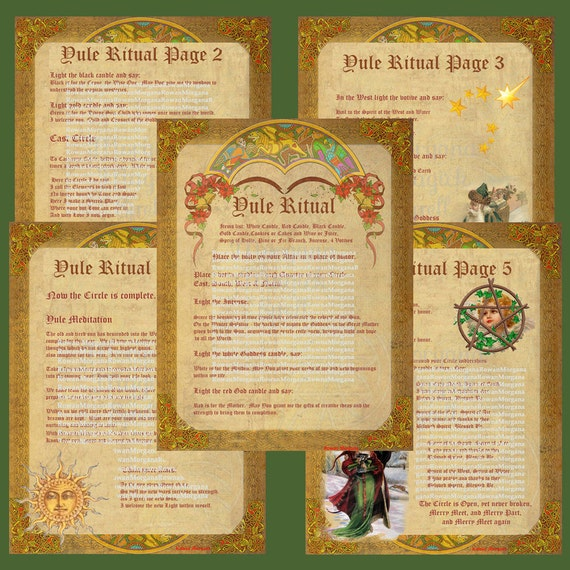 YULE  RITUAL 5 Pages, Book of Shadows, Digital Download, Grimoire, Magick Spell, Christmas, Pagan, Wicca