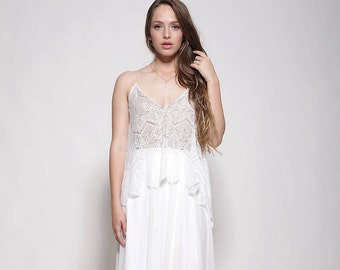 Bohemian lace top wedding dress , nude color lining ,open back wedding dress